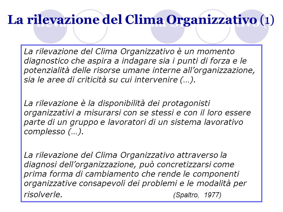 La rilevazione del Clima Organizzativo (1)