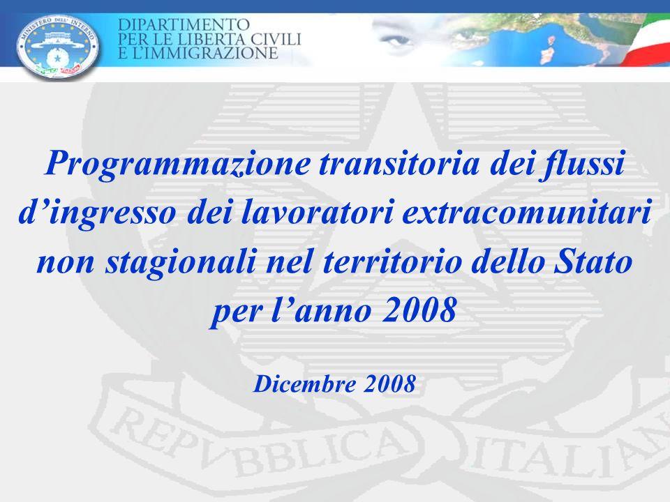 Programmazione transitoria dei flussi d'ingresso dei lavoratori extracomunitari non stagionali nel territorio dello Stato