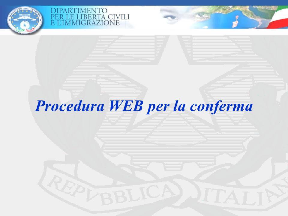 Procedura WEB per la conferma