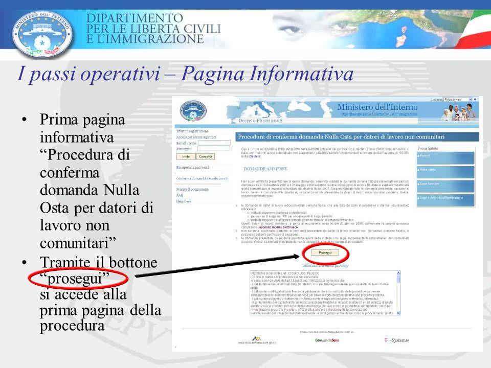 I passi operativi – Pagina Informativa