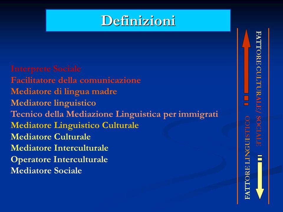 Definizioni Interprete Sociale Facilitatore della comunicazione