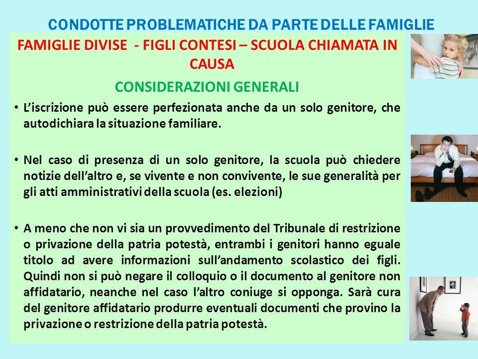 CONDOTTE PROBLEMATICHE DA PARTE DELLE FAMIGLIE