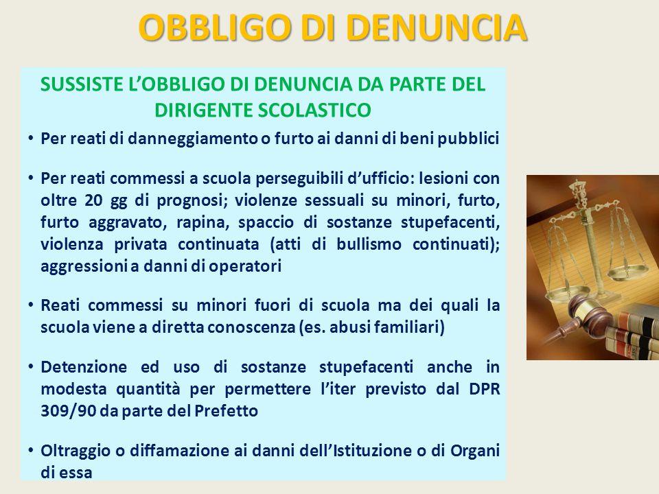SUSSISTE L'OBBLIGO DI DENUNCIA DA PARTE DEL DIRIGENTE SCOLASTICO