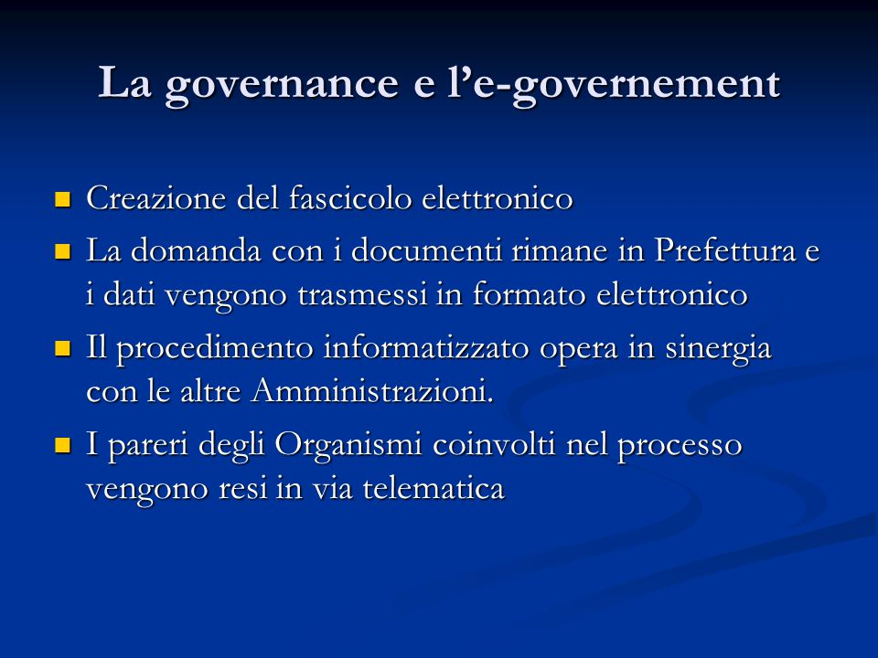 La governance e l'e-governement