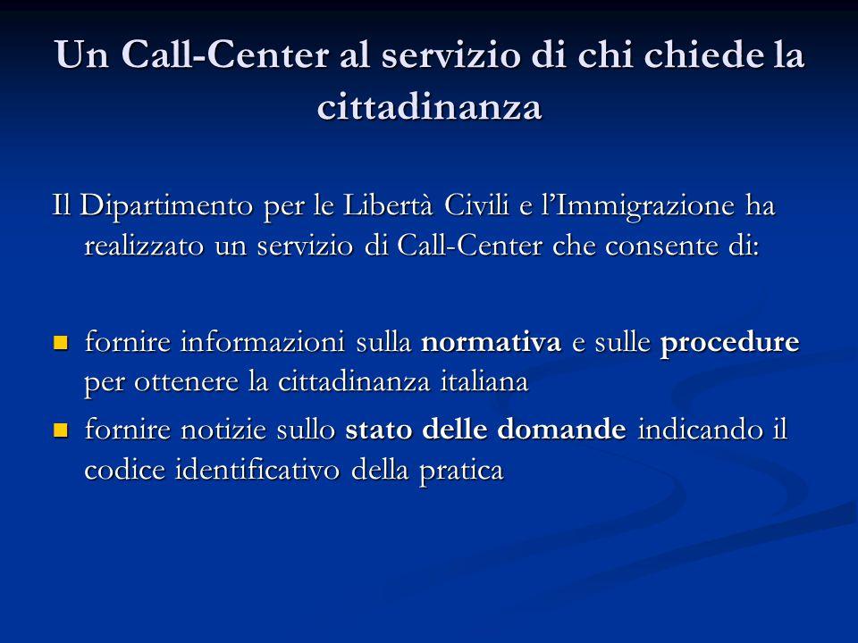 Un Call-Center al servizio di chi chiede la cittadinanza