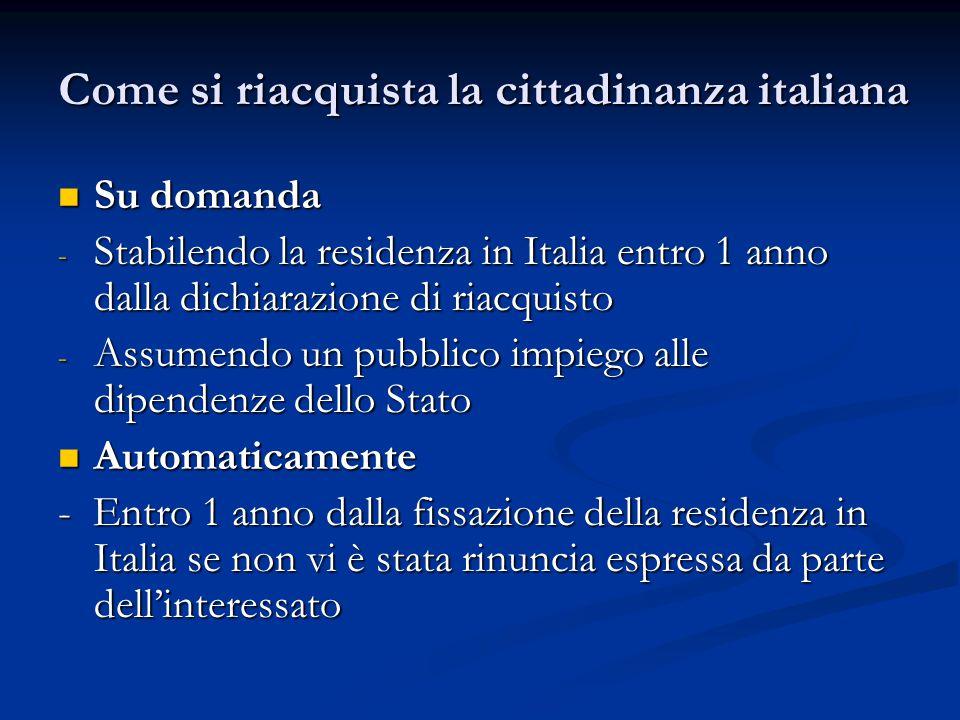 Come si riacquista la cittadinanza italiana