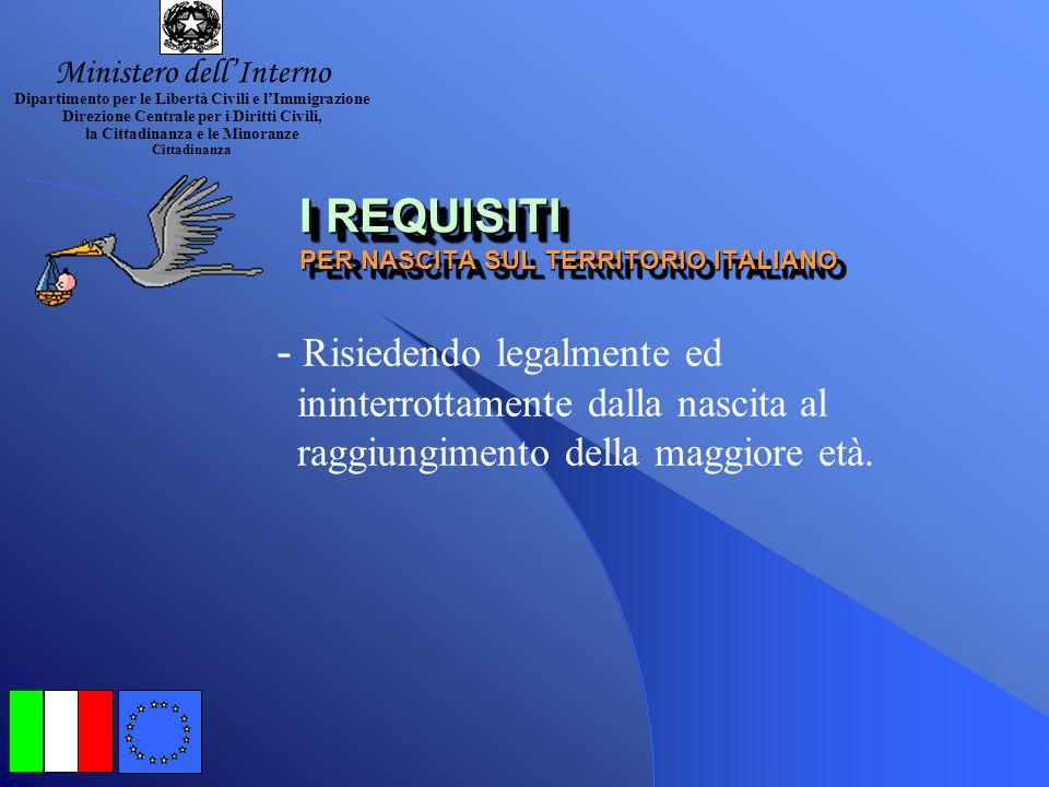 I REQUISITI PER NASCITA SUL TERRITORIO ITALIANO