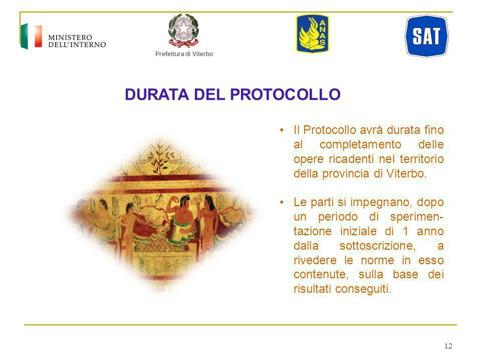 Prefettura di Viterbo DURATA DEL PROTOCOLLO.