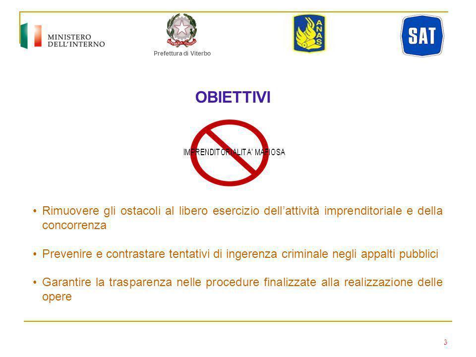 Prefettura di Viterbo OBIETTIVI. Rimuovere gli ostacoli al libero esercizio dell'attività imprenditoriale e della concorrenza.