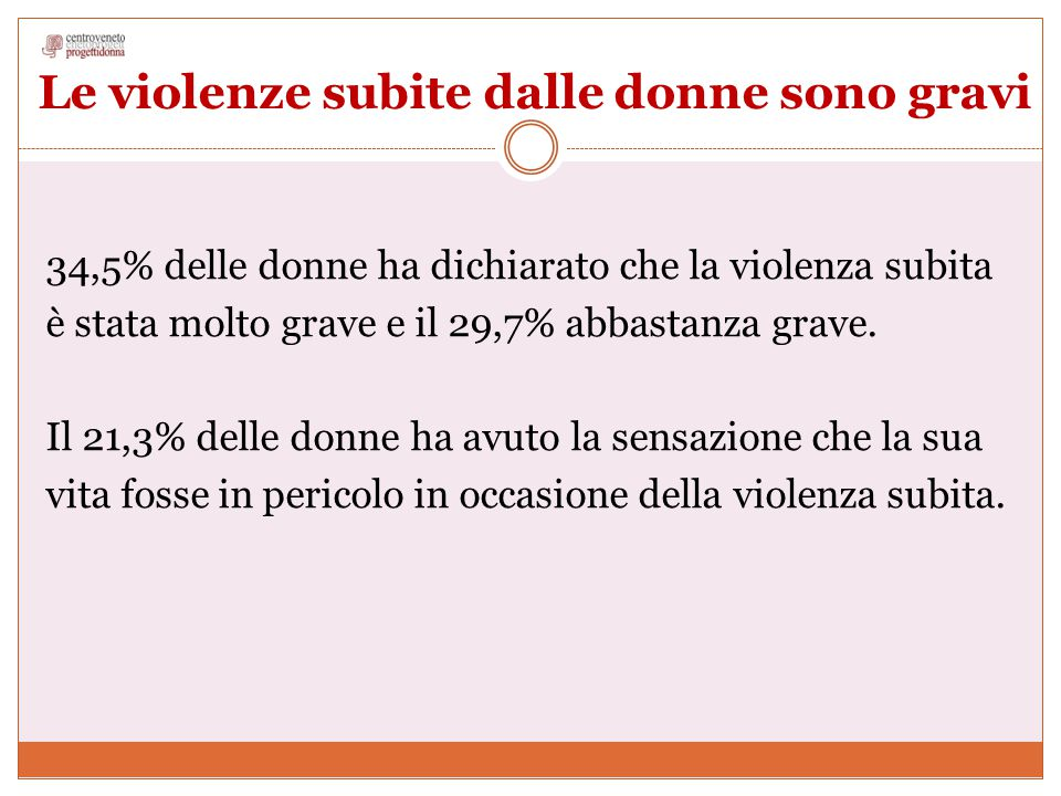 Le violenze subite dalle donne sono gravi