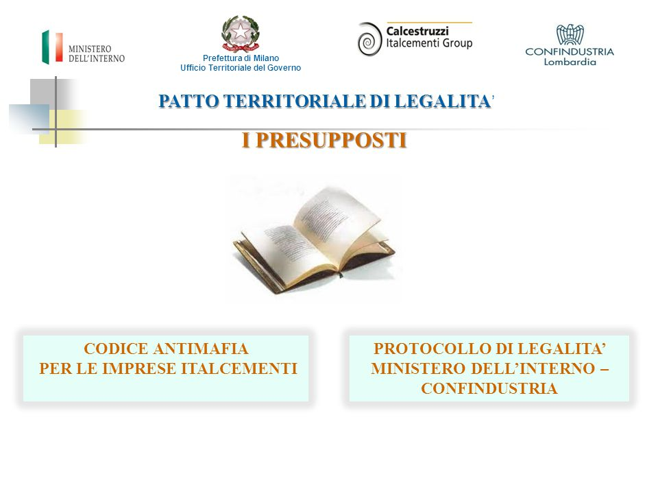 I PRESUPPOSTI PATTO TERRITORIALE DI LEGALITA' CODICE ANTIMAFIA