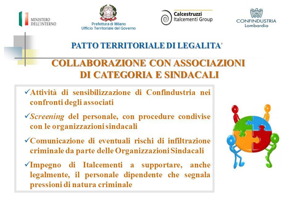 COLLABORAZIONE CON ASSOCIAZIONI DI CATEGORIA E SINDACALI