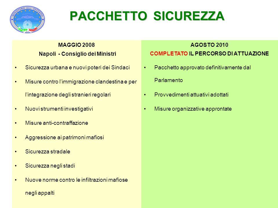 Napoli - Consiglio dei Ministri COMPLETATO IL PERCORSO DI ATTUAZIONE