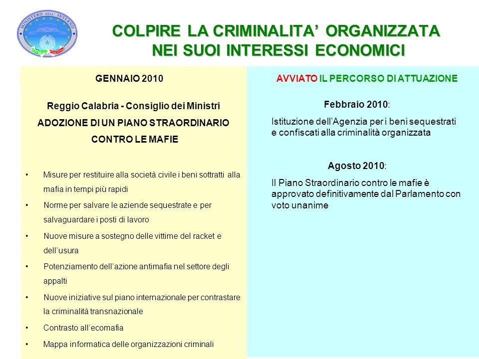 COLPIRE LA CRIMINALITA' ORGANIZZATA NEI SUOI INTERESSI ECONOMICI