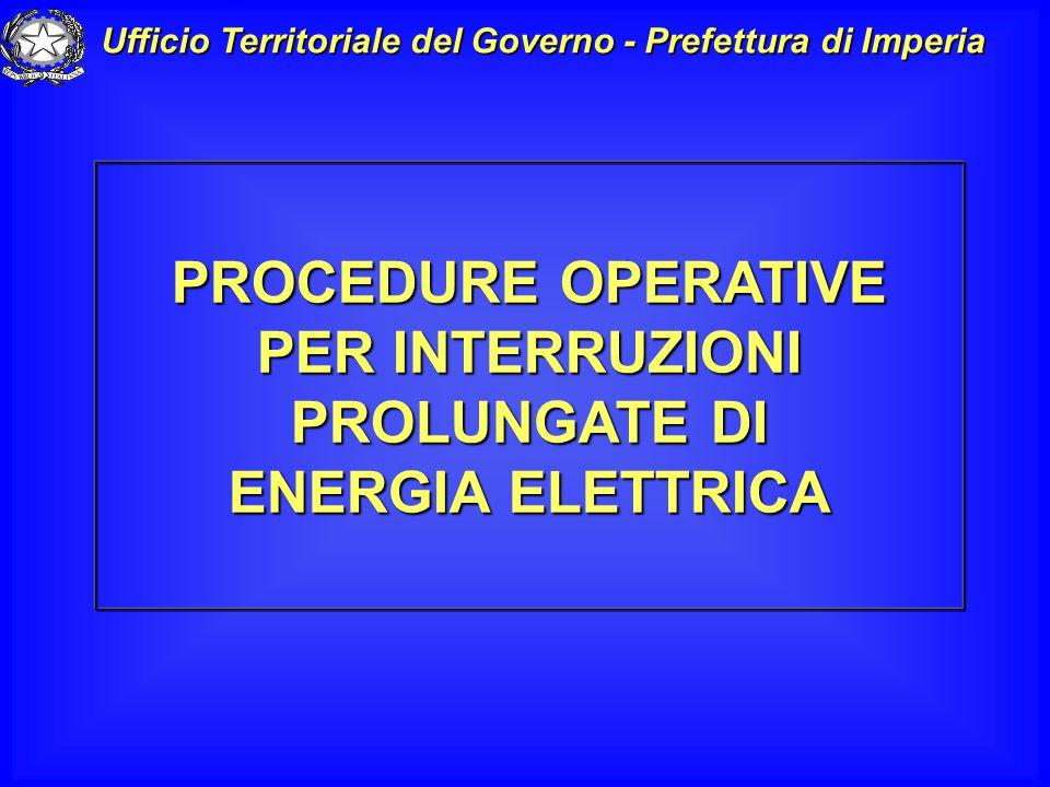 PROCEDURE OPERATIVE PER INTERRUZIONI PROLUNGATE DI ENERGIA ELETTRICA