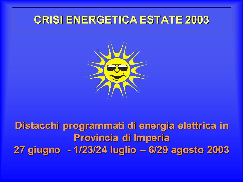 CRISI ENERGETICA ESTATE 2003
