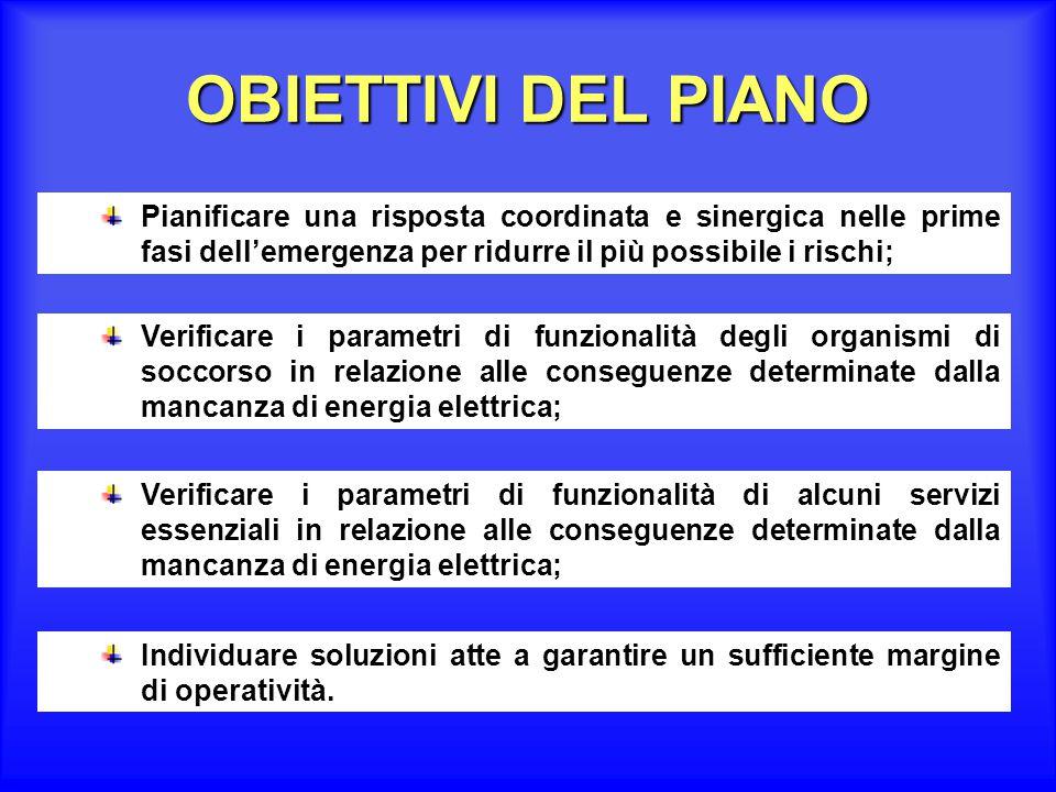 OBIETTIVI DEL PIANO Pianificare una risposta coordinata e sinergica nelle prime fasi dell'emergenza per ridurre il più possibile i rischi;