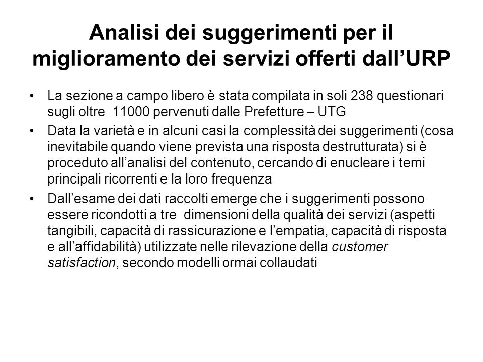 Analisi dei suggerimenti per il miglioramento dei servizi offerti dall'URP
