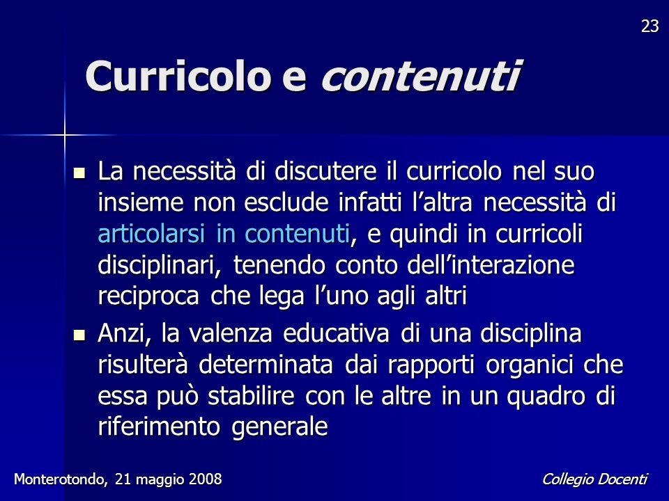 Curricolo e contenuti
