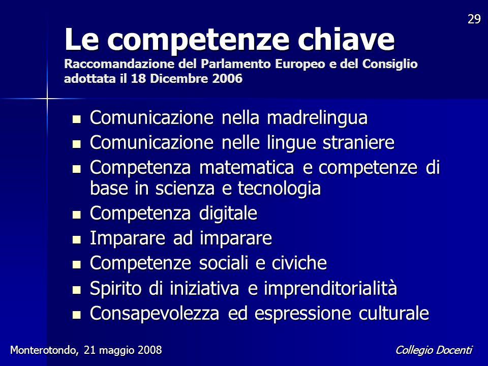 Le competenze chiave Raccomandazione del Parlamento Europeo e del Consiglio adottata il 18 Dicembre 2006