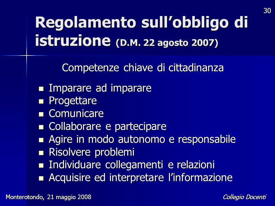 Regolamento sull'obbligo di istruzione (D.M. 22 agosto 2007)