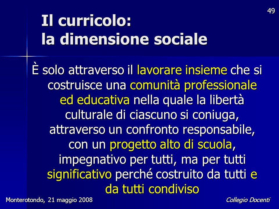 Il curricolo: la dimensione sociale