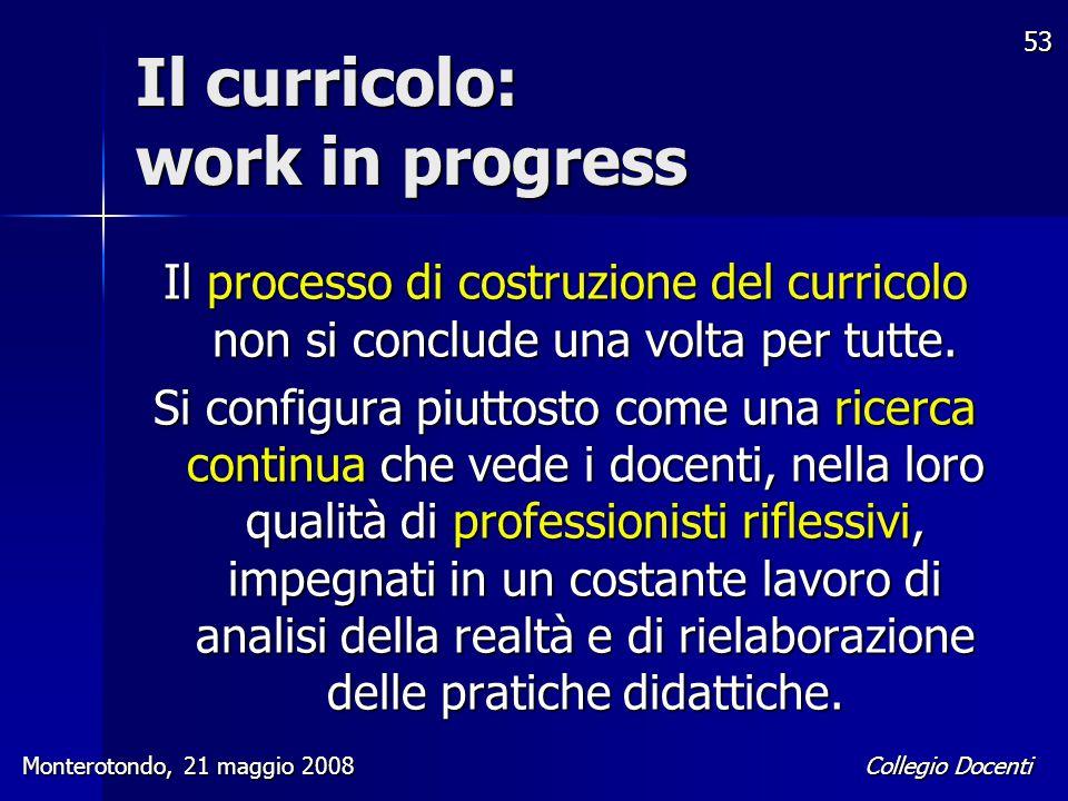Il curricolo: work in progress