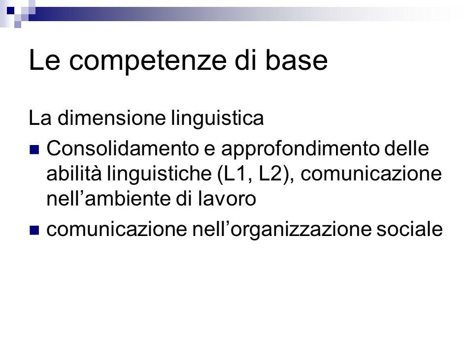 Le competenze di base La dimensione linguistica