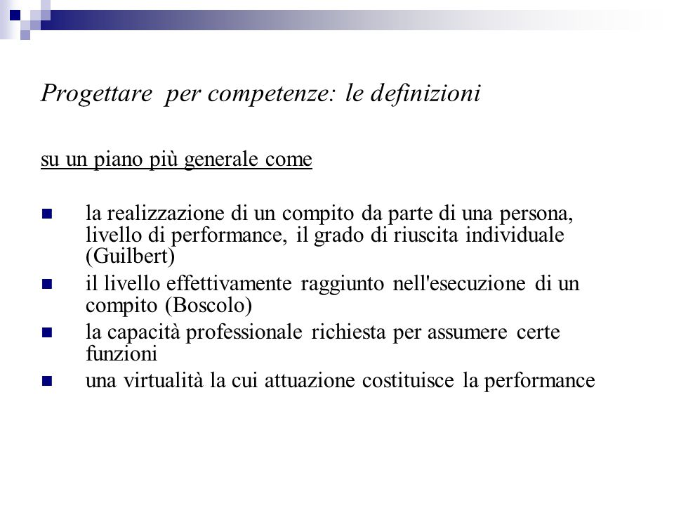 Progettare per competenze: le definizioni