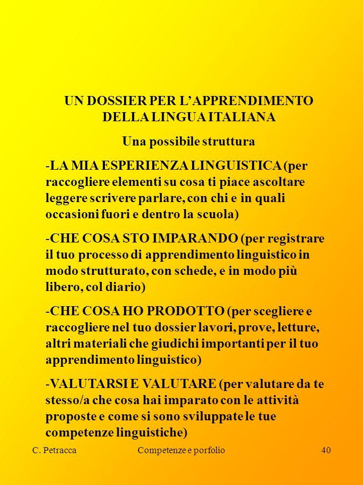 UN DOSSIER PER L'APPRENDIMENTO DELLA LINGUA ITALIANA