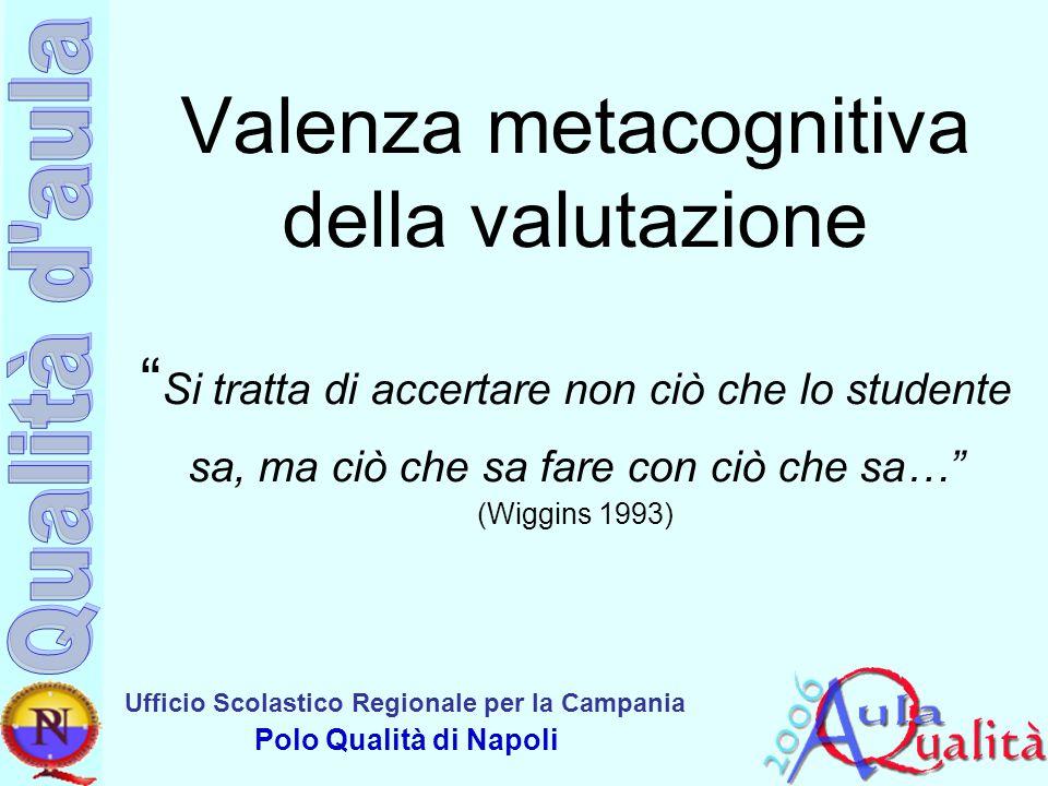 Valenza metacognitiva della valutazione Si tratta di accertare non ciò che lo studente sa, ma ciò che sa fare con ciò che sa… (Wiggins 1993)