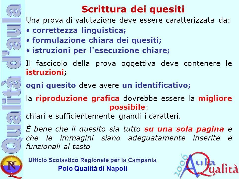 Scrittura dei quesiti Una prova di valutazione deve essere caratterizzata da: correttezza linguistica;