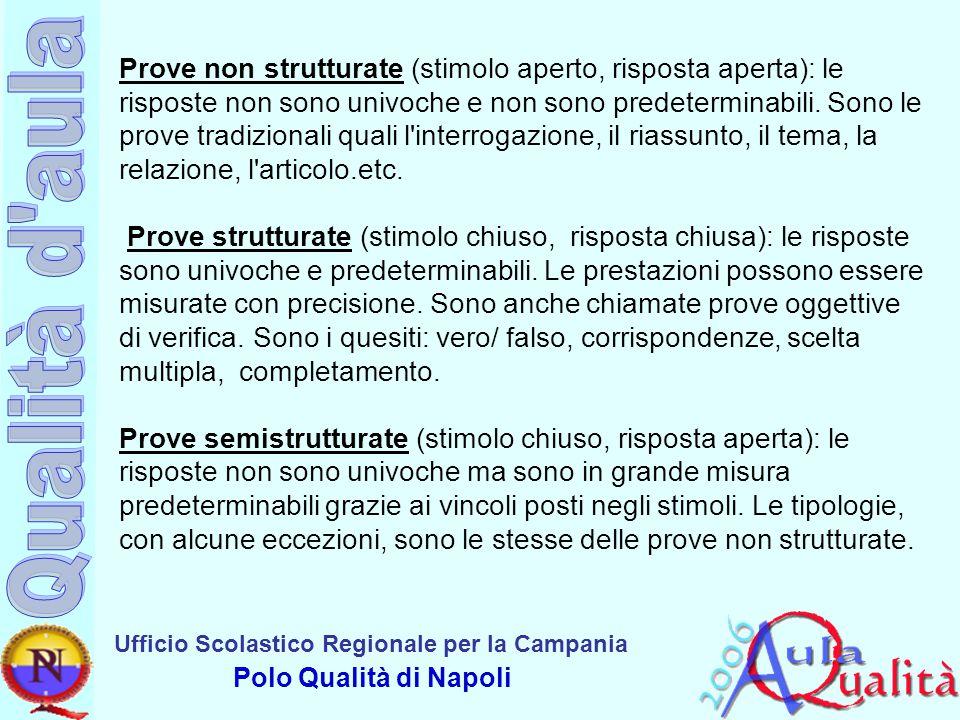 Prove non strutturate (stimolo aperto, risposta aperta): le risposte non sono univoche e non sono predeterminabili.