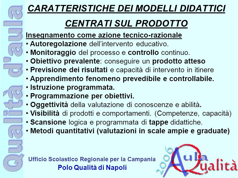 CARATTERISTICHE DEI MODELLI DIDATTICI CENTRATI SUL PRODOTTO