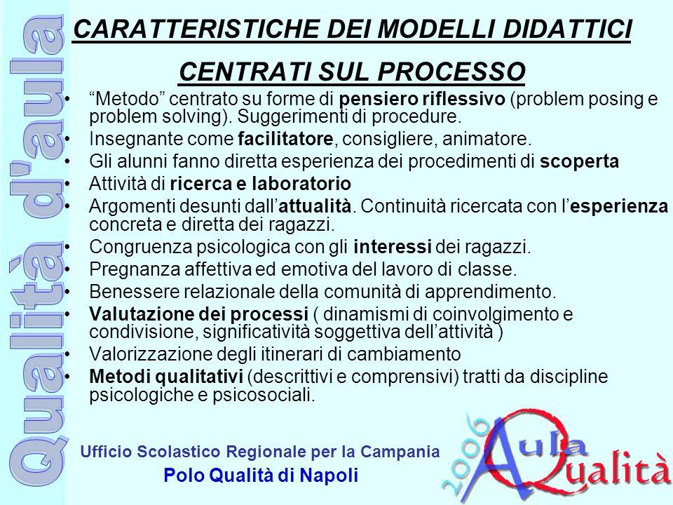 CARATTERISTICHE DEI MODELLI DIDATTICI CENTRATI SUL PROCESSO