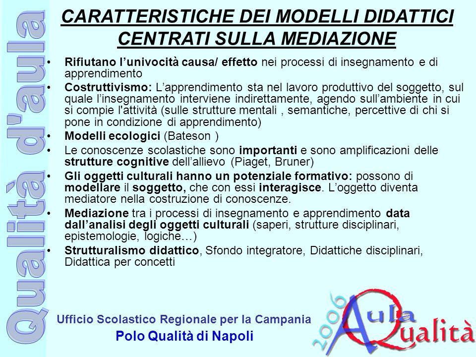CARATTERISTICHE DEI MODELLI DIDATTICI CENTRATI SULLA MEDIAZIONE