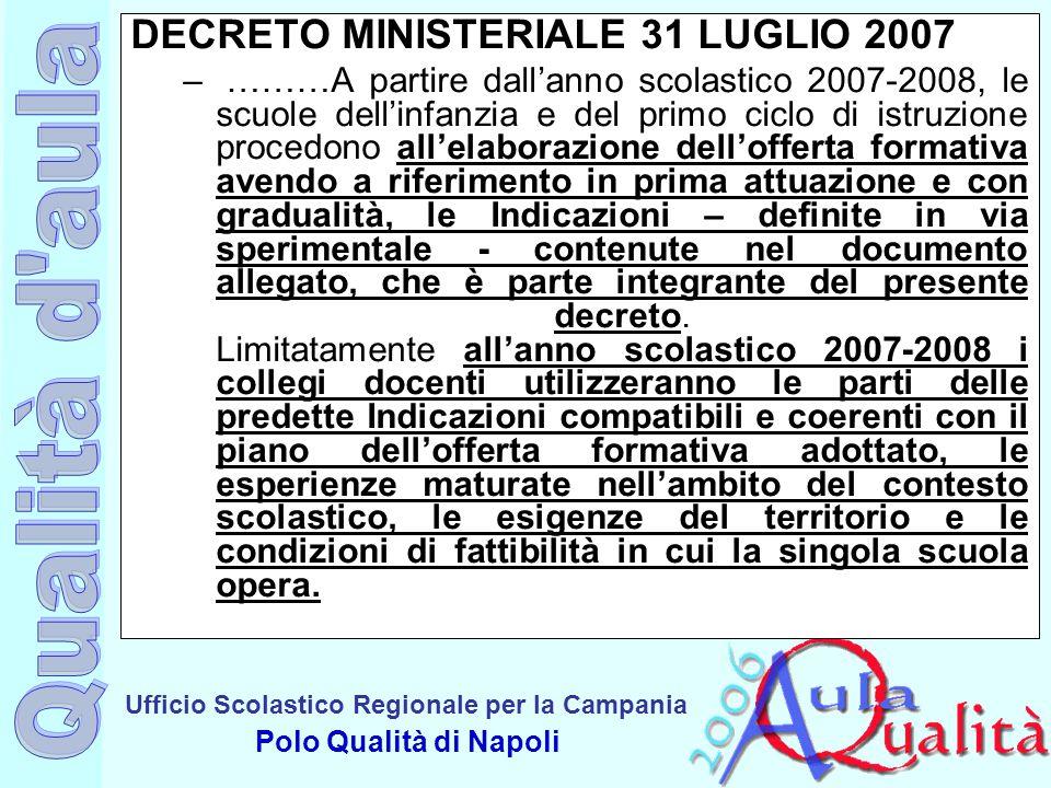 DECRETO MINISTERIALE 31 LUGLIO 2007