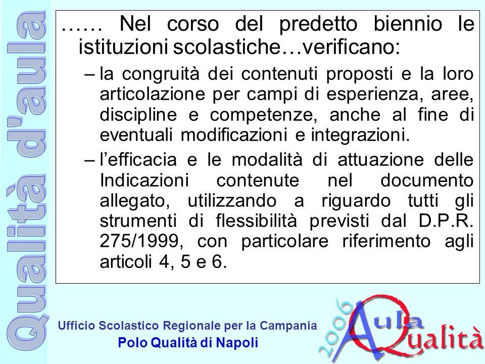 …… Nel corso del predetto biennio le istituzioni scolastiche…verificano: