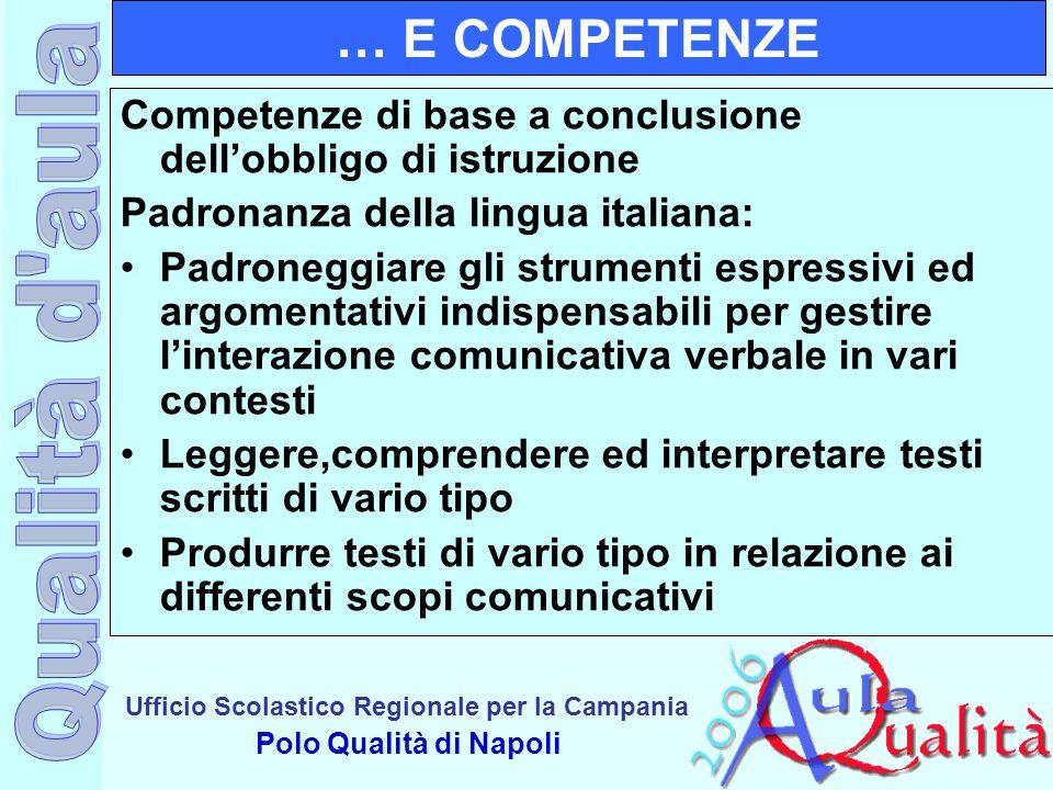 … E COMPETENZE Competenze di base a conclusione dell'obbligo di istruzione. Padronanza della lingua italiana: