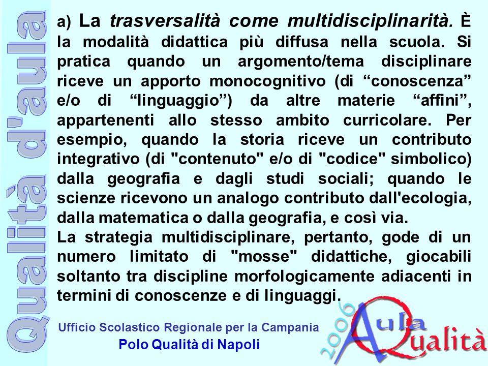 a) La trasversalità come multidisciplinarità