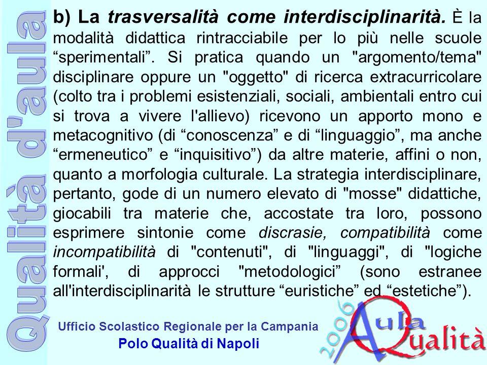 b) La trasversalità come interdisciplinarità