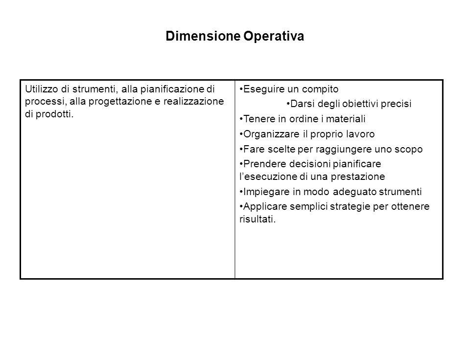 Dimensione Operativa Utilizzo di strumenti, alla pianificazione di processi, alla progettazione e realizzazione di prodotti.