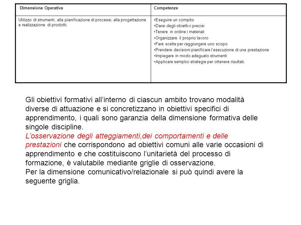 Dimensione Operativa Competenze. Utilizzo di strumenti, alla pianificazione di processi, alla progettazione e realizzazione di prodotti.
