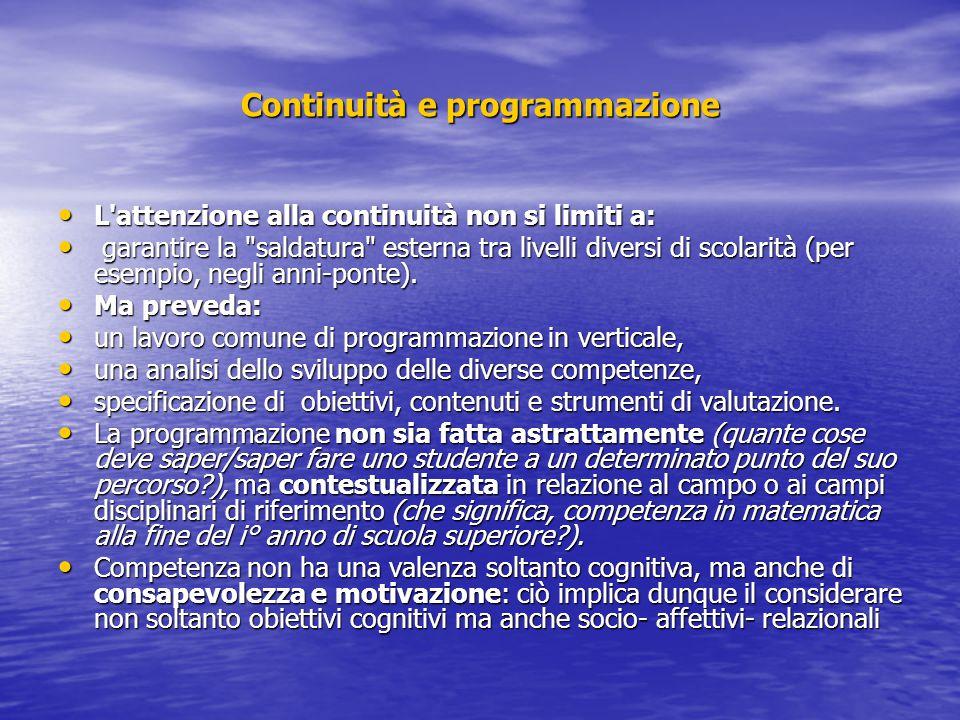 Continuità e programmazione