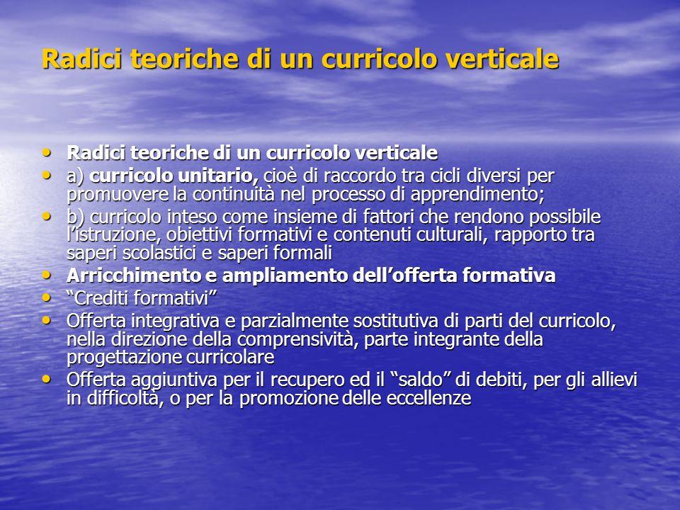 Radici teoriche di un curricolo verticale