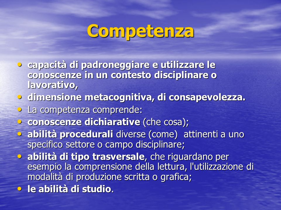 Competenza capacità di padroneggiare e utilizzare le conoscenze in un contesto disciplinare o lavorativo,