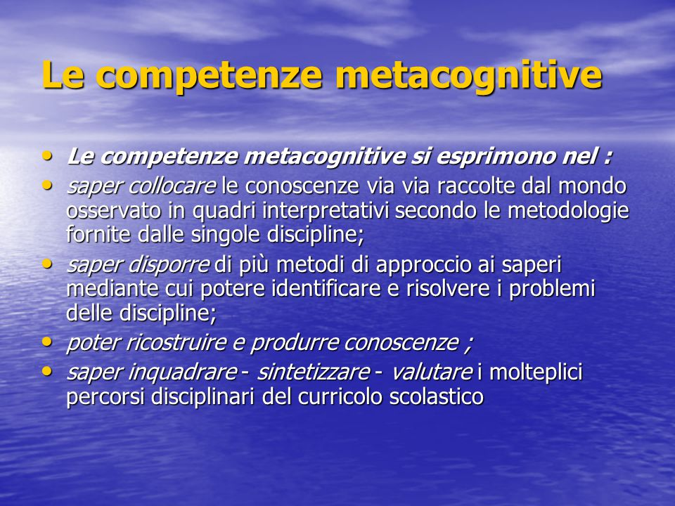 Le competenze metacognitive