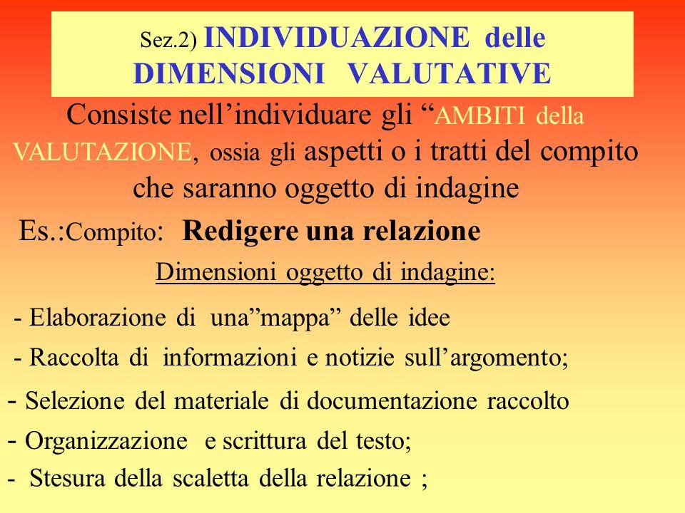 Sez.2) INDIVIDUAZIONE delle DIMENSIONI VALUTATIVE