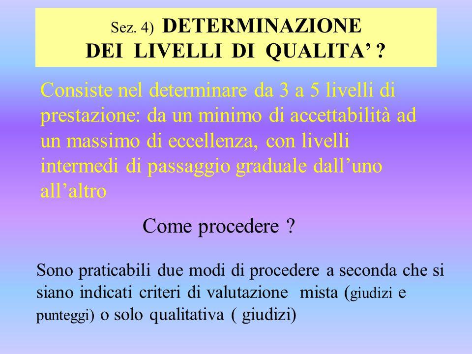 Sez. 4) DETERMINAZIONE DEI LIVELLI DI QUALITA'