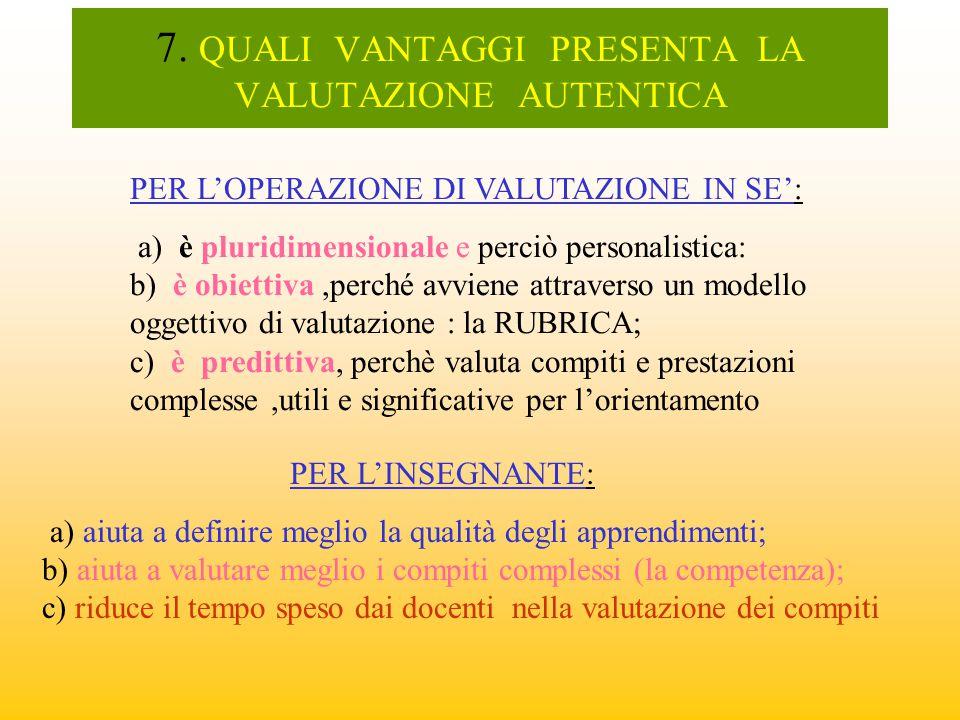 7. QUALI VANTAGGI PRESENTA LA VALUTAZIONE AUTENTICA